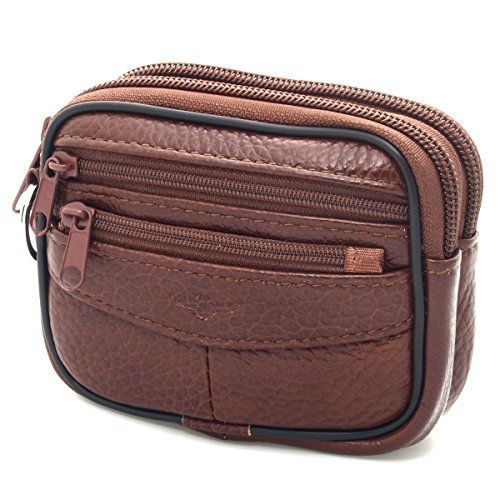 (New Unisex Leather Small Waist Bag Wallet Coin Pocket Belt Loops Purse (Brown))