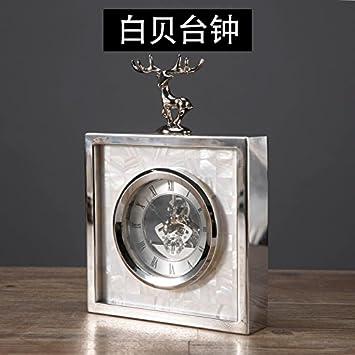 Y-Hui Concha Hueso de Vaca Columpio en el Salón del Reloj El Reloj de sobremesa de Metal Relojes de Péndulo, Blanco, Single-Station Escritorio: Amazon.es: ...