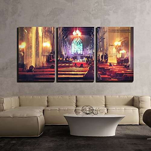 wall26 3 Piece Canvas Wall Art - Interior View of a Church,Illustration,Digital Painting - Modern Home Decor Stretched and Framed Ready to Hang - 24