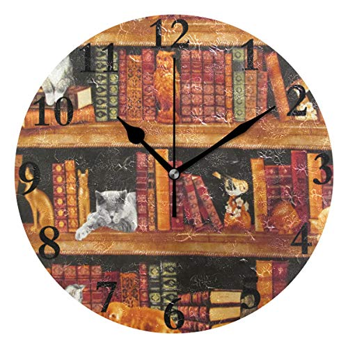 - NMCEO Wall Clock Cats Books Shelves Round Hanging Clock Acrylic Battery Operated Wall Clocks for Home Decor Creative