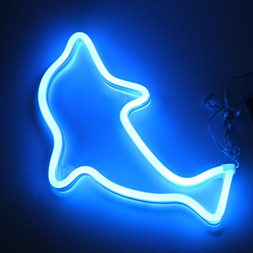 XIYUNTE Dolphin Neon Light Sign - LED Animal Neon Signs Battery and USB Operated Wall Decor Blue Signs Neon Lamps Bedside Table Lamps Light up Children's Bedroom,Indoor Decor for Christmas,Wedding by XIYUNTE