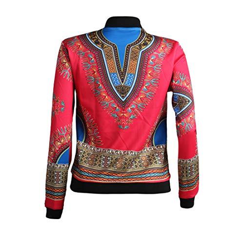 Manica Casual Coat Lunga Vintage Zip Rosso Giacca Bomber Nero Primavera Giacche Jacket Stampa Donna Autunno Cime Outerwear Moda Tops Cappotti E Africano Con Trenchcoat 6cw4qRYvf