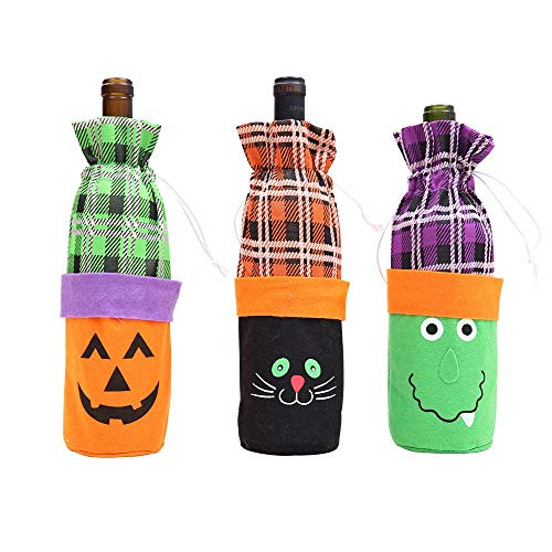HORHIN Halloween Wine Bottle Bag,3PCS Funny Pumpkin Grid Wine Decorative Bags,Halloween Party Costumes Supplies Decorations Favor,Drawstring Closure Bottle -