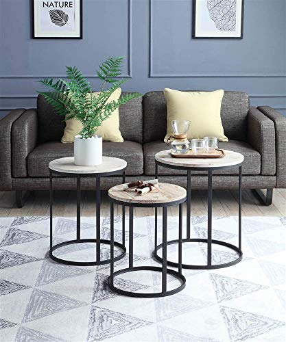 3-Pc Round Nesting Tables in Distressed and -