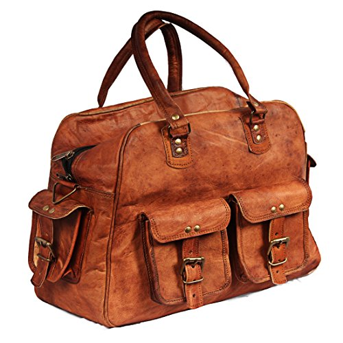 Hell Blues Classic Duffle Weekend Sports Vintage Look Genuine Leather Bag (Airplane Underseat) Brown (Best Deal On Sports Shoes In India)