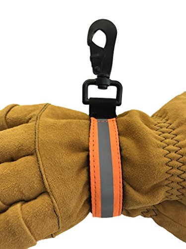 LINE2design Heavy Duty Firefighter Glove Strap with Orange Reflective Trim - Ultimate Turnout Gear Firefighting Glove Safety Strap