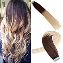 FYX #4/#613 20Pcs 50g Unprocessed Natural Brazilian Human Hair Extensions Tape Ombre Color Remy Tape In Hair Extensions Brown To Blonde Hair Extensions Glue In For Short Hair (20'')