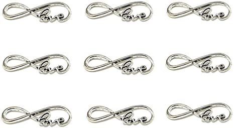 Antique Silver 50pcs Infinity Symbol Connectors Charms Pendants for DIY Bracelet Necklace Jewelry Making Accessories By Alimitopia
