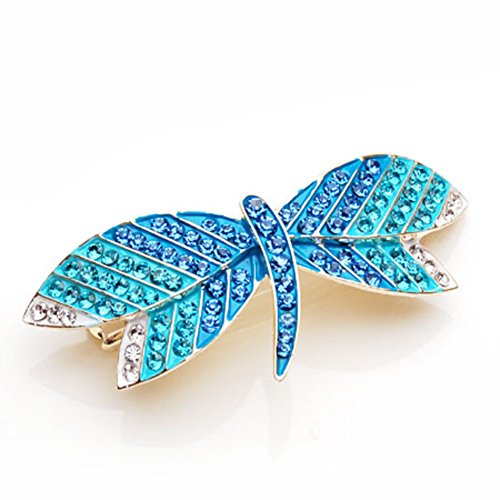 Korean version of Dragonfly Barrette Handmade Crystal rhinestone tiara top clamp horizontal clamp hair Barrette Lady - Crystal Barrette Dragonfly