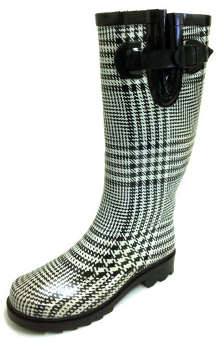 G4U Women's Rain Boots Multiple Styles Color Mid Calf Wellies Buckle Fashion Rubber Knee High Snow Shoes (11 B(M) US, Houndstooth Plaid) ()