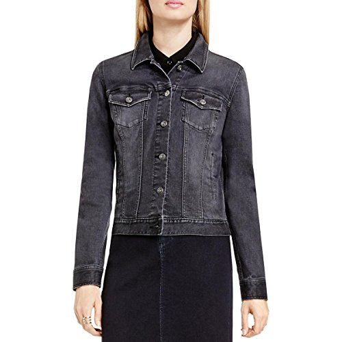 Two by Vince Camuto Womens Grey Wash Button up Denim Jacket Black M
