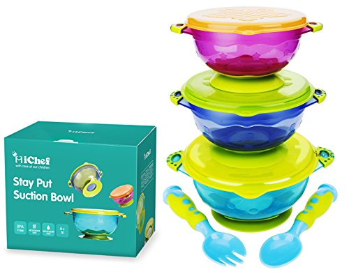 MICHEF Stay Put Suction Bowl, Spill Proof, Baby Bowls with Snap Tight Lids, Baby Gift Set of 3 Count, and 2 Best Baby Spoon and Fork, Perfect for Babies & Toddlers BPA & BPS Free FDA Approved by MICHEF