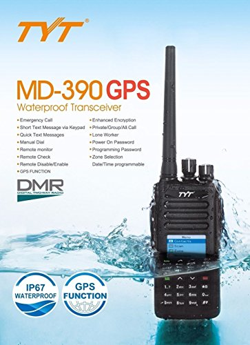 TYT Tytera Upgraded MD-390 DMR Digital Radio, with GPS Function! Waterproof Dustproof IP67 Walkie Talkie Transceiver, UHF 400-480MHz Two-Way Radio, Compatible with Mototrbo, with 2 Antenna, Black by TYT (Image #1)