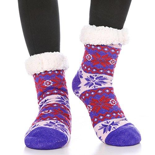 Ferbia Womens Girls Christmas Gift Slipper Socks Snowflake Deer Warm Cozy Fuzzy Fleece-lined Knee Highs Winter Socks (Plus Size Lined Stockings)