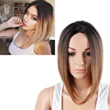 Netgo Black and Brown Ombre Bob Wig Short Straight Synthetic...