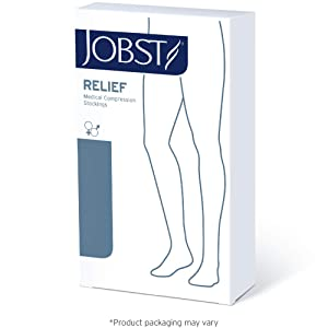 JOBST Relief Thigh High 15-20 mmHg Compression Stockings, Closed Toe with Silicone Dot Band, Medium Petite, Beige (Color: Beige, Tamaño: Medium Petite)