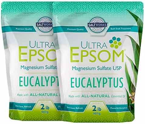 SaltWorks Ultra Epsom Premium Scented Epsom Salt, Eucalyptus Bundle, 4 Pounds