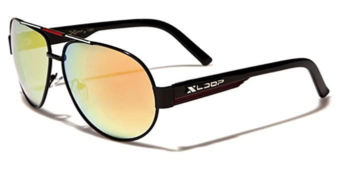 eeb6925dfc Amazon.com  X-Loop Retro 80s Mirrored Aviator Sunglasses - Black  Sports    Outdoors