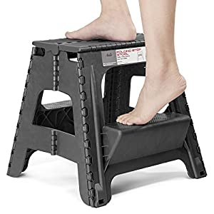 Acko 2-in-1 Dual Purpose Stool Two Step Ladder Durable Plastic Folding Stool with Pedal Easy Storage 15 Inches Height 350 lbs Capability Black Color
