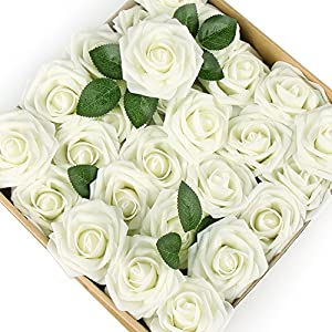 ICEYUN Artificial Roses 50pcs Real Looking Fake Flower with Leaves stem for Wedding DIY Bouquets Party Baby Shower Home Decorations 3