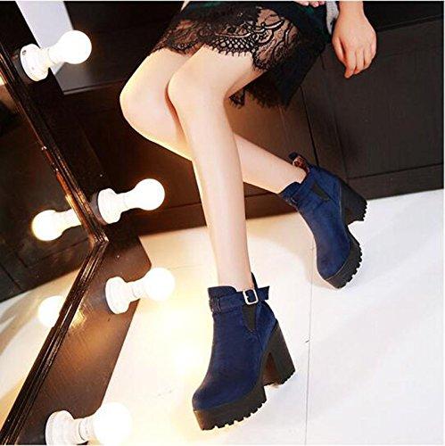 inverno scarpe Cilindretto boot tacchi fashion e alti impermeabile autunno i con Taiwan ladies tonda ladies in dello In con e ZQ nude corto QX blue spessore versatile stivali testa di wxqXTX6