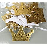 Romance Tales 100 Pack Card Cake Toppers Cafts Cake & Cupcake Birthday Wedding Baby Shower Festival Cake Toppers Decoration (Gold Crown)
