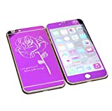 Dreams Mall(TM)Top Fashion Electroplating Mirror Effect with Rose Tempered Glass Screen Protector Film Decal Skin Sticker Front & Back for Apple iPhone 6 and 6S 4.7 inch-Purple
