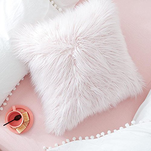 Jooyi Natural Deluxe Home Decorative Super Soft Plush Mongolian Faux Fur Throw Pillow Cover Cushion Case - Gaga Lady Mouse Mickey