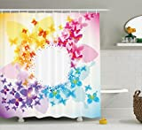 pink and yellow shower curtain - Ambesonne Butterflies Decoration Collection, Butterfly Pattern Romantic Medallion Shape Frame Celebrating Symmetry Design, Polyester Fabric Bathroom Shower Curtain, 75 Inches Long, Yellow Pink