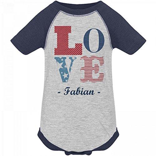 July 4th Love America Fabian: Infant Vintage Raglan - 4 Fabian