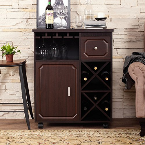 Furniture Of America Crestall Multi Storage Espresso Mobile Wine Bar Cabinet Buy Online In Uae