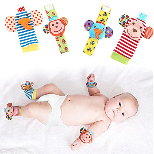 Two-Piece Set New Cotton Soft Monkey and Elephant Rattles for Newborn Babies