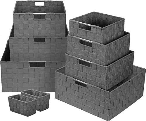 Sorbus Storage Box Woven Basket Bin Container Tote Cube Organizer Set Stackable Storage Basket Woven Strap Shelf…