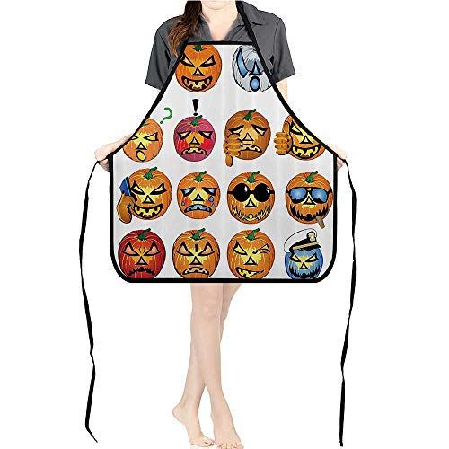 Jiahong Pan Men and Women Kitchen Apron Carved Pumpkin with Emoji ces Halloween Humor Hipster Msters Harvest for Cooking, Baking, Crafting, Gardening, BBQK17.7xG26.6xB9]()