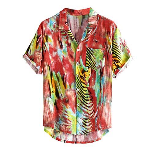 Blouse for Men Vintage Multi Color Lump Chest Pocket Short Sleeve Round Hem Loose Shirts ()