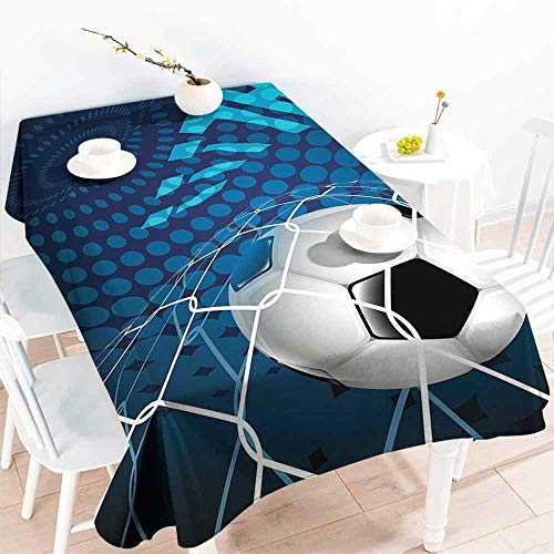 HCCJLCKS Rectangular Tablecloth Soccer Goal Football Flying into Net Abstract Dots Pattern Background European Sport Washable Tablecloth W70 xL84 Blue Black White