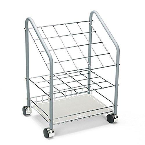 Safco 3091 Wire Roll/File 20 Compartments 18w x 12-3/4d x 24-1/2h Gray - Safco Chrome Wire Roll File