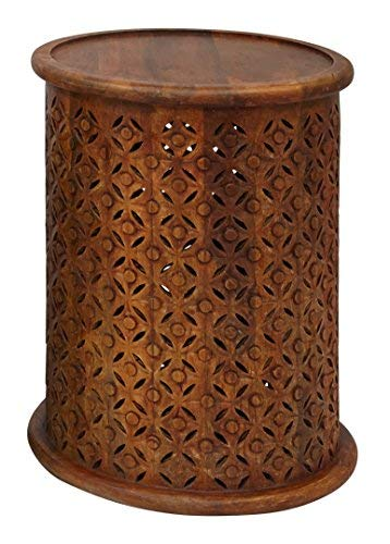 Carved Accents Wood - Jofran 1730-17MGO Global Archive Drum Table - Mango, 17