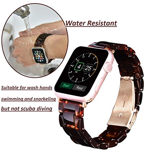 V_moro 38mm Apple Watch Band Women Men- Fashion Resin iWatch Band Bracelet With Copper Stainless Steel Buckle for Apple Watch Series 3 Series 2 Series 1 (Tortoise-tone, 38mm(5''-7.67'')) by V_moro (Image #3)