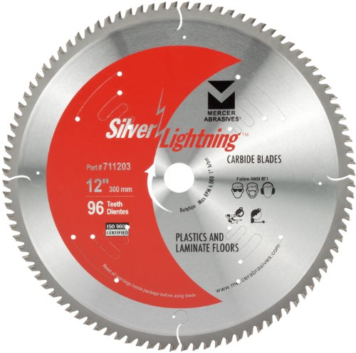 Mercer Abrasives 711203 96-Tooth TCG Carbide Wood Cutting Blade with 12-Inch Diameter and 5/8-Inch Arbor for Plastics and Laminate Floor