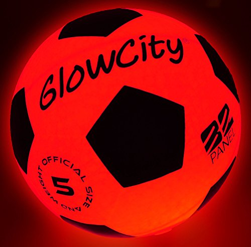 GlowCity Light Up LED Soccer Ball Blazing Red Edition|Glows in The Dark with Hi-Bright ()