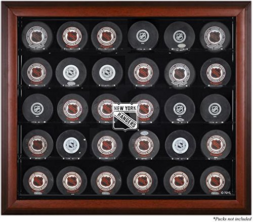 New York Rangers 30-Puck Mahogany Display Case - Fanatics Authentic Certified - Hockey Puck Logo Display Cases