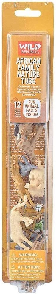 Wild Republic African Family Animal Figurines Tube, Zoo Animal Toys, Elephant, Lion, Giraffe and Cheetah Families Collection