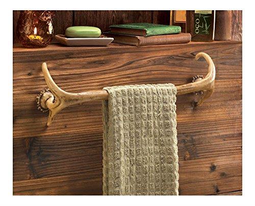Deer antler Hunting Lodge cabin rustic decor Bathroom bath towel bar rack hook (Bar Cabin Towel)