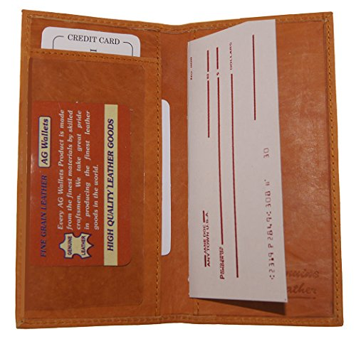 Dallas Cowboys Checkbook Cover (Genuine Leather Slim And Plain Checkbook Cover Men Women Tan Color)