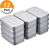 Arts & Crafts : Shappy 12 Pack 3.75 by 2.45 by 0.8 Inch Silver Metal Rectangular Empty Hinged Tins Box Containers Mini Portable Box Small Storage Kit, Home Organizer