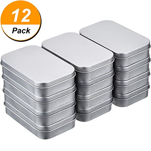 Shappy 12 Pack 3.75 by 2.45 by 0.8 Inch Silver Metal Rectangular Empty Hinged Tins Box Containers Mini Portable Box Small Storage Kit, Home Organizer - Silver Plated Lid