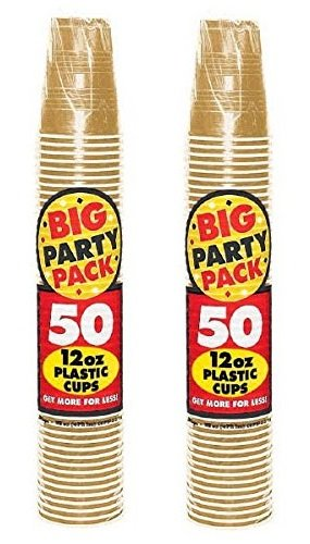 Amscan 765488414205 Big Party Count Plastic Cups, 12-Ounce, Gold (2 packs of 50 each), 12 oz