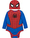 baby boy clothes marvel - Marvel Spiderman Baby Boys' Costume Long Sleeve Bodysuit and Cap Set Blue, 0-3 Months