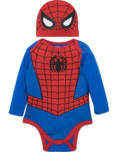 Spiderman Bodysuit Costume (Marvel Spiderman Baby Boys' Costume Long Sleeve Bodysuit and Cap Set Blue, 3-6 Months)